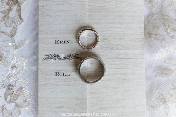 Rings on top of wedding invitation