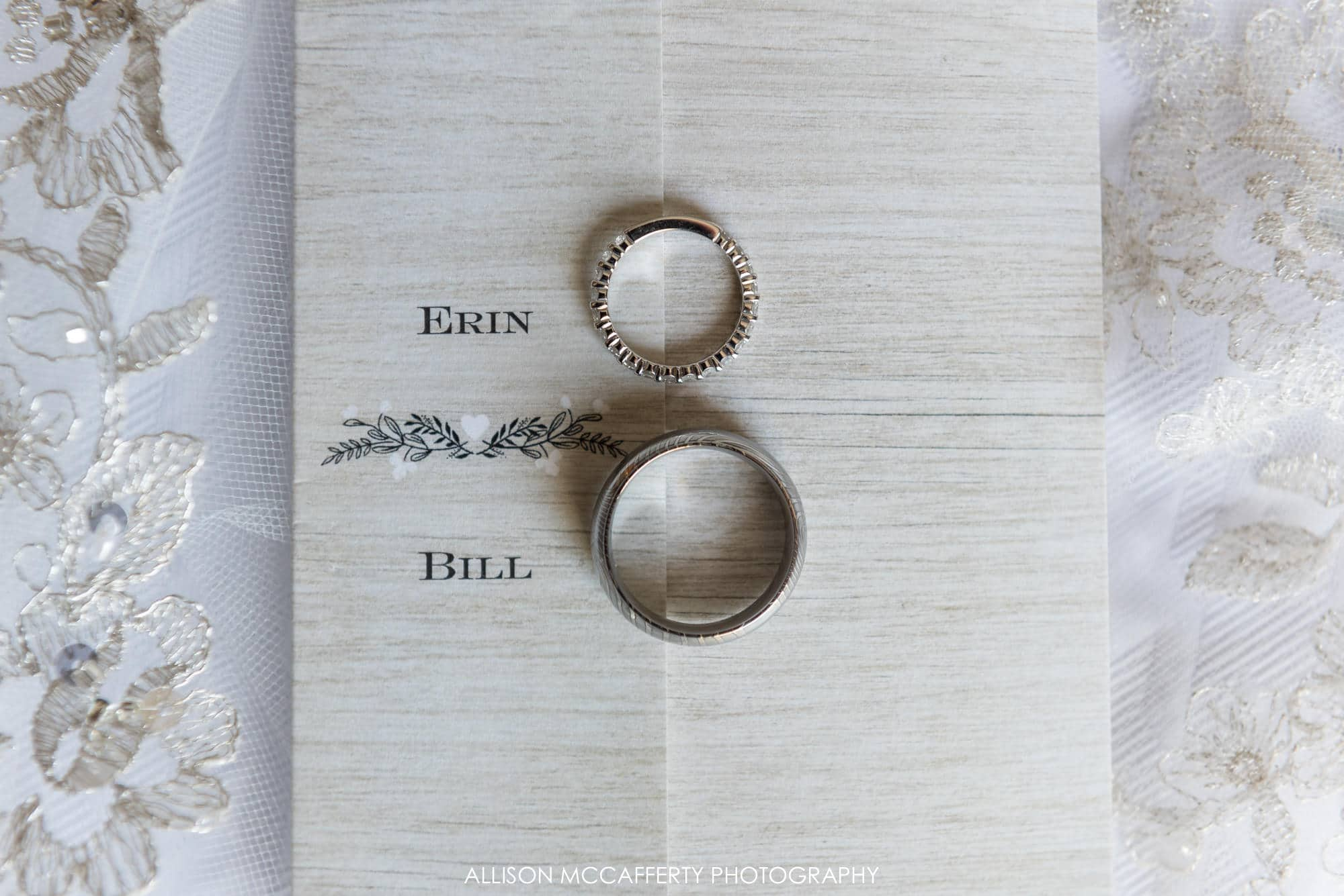 Rings on top of wedding invitation