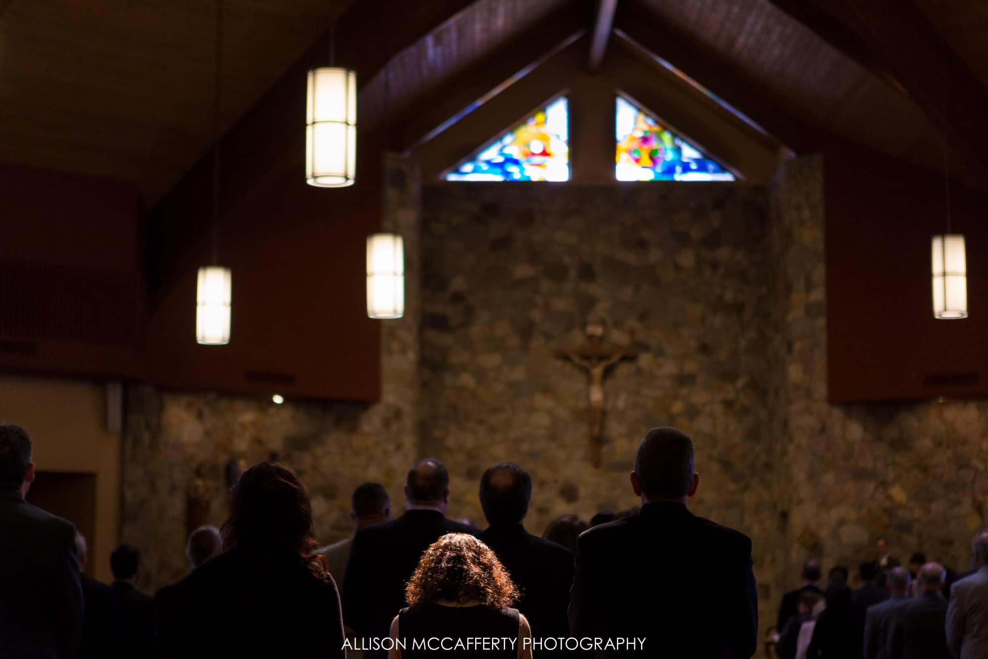 Sunlight coming in through church windows during wedding