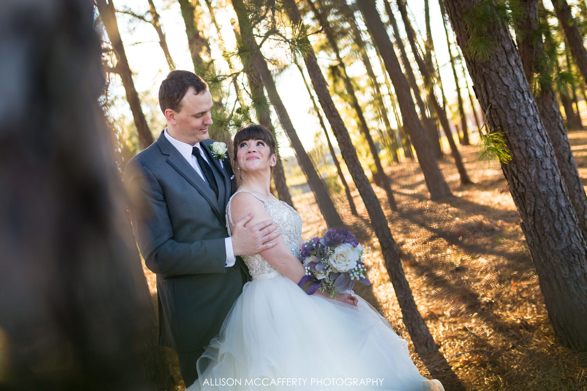 Bride and groom portrait at Blue Heron Pines