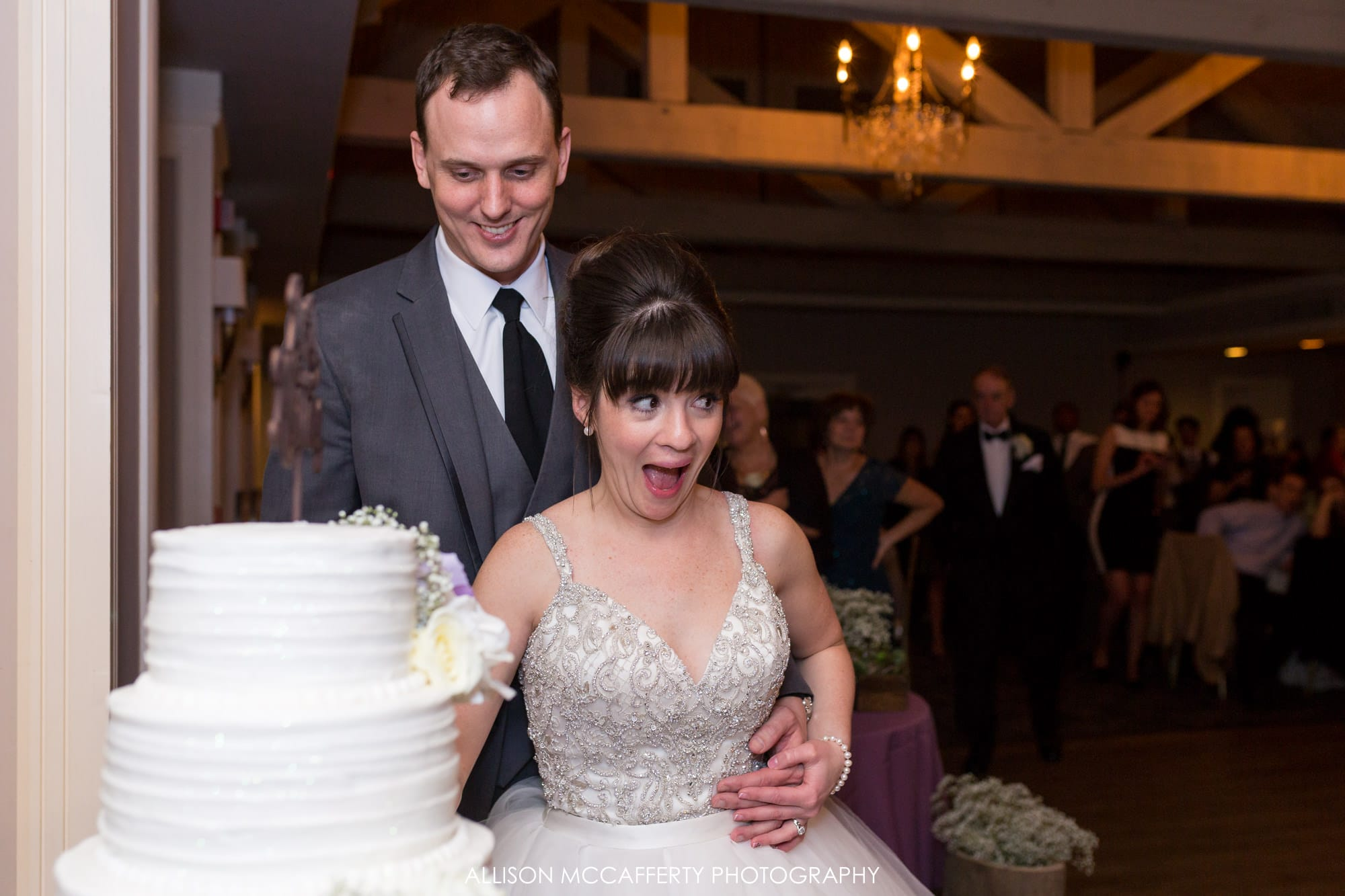 Fun wedding cake cutting photos Blue Heron Pines Wedding Photographer