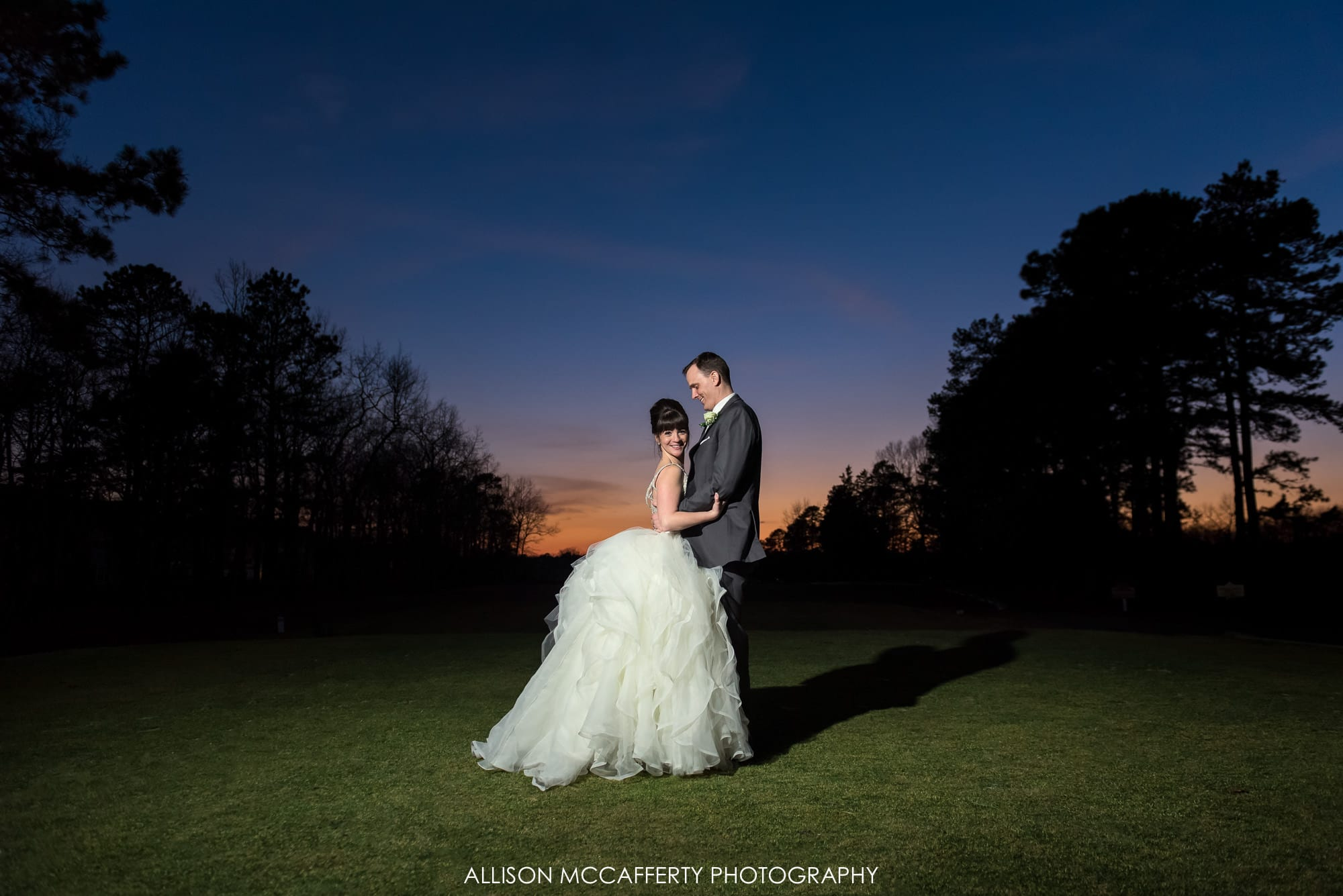Sunset photo at Blue Heron Pines NJ on the green Blue Heron Pines Wedding