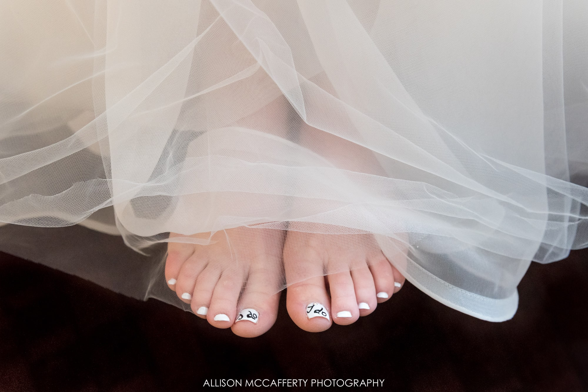 Fun wedding pedicure with I do painted