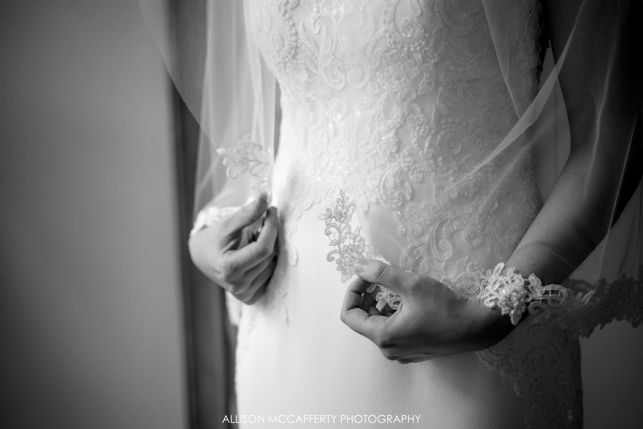 black and white photo of wedding veil
