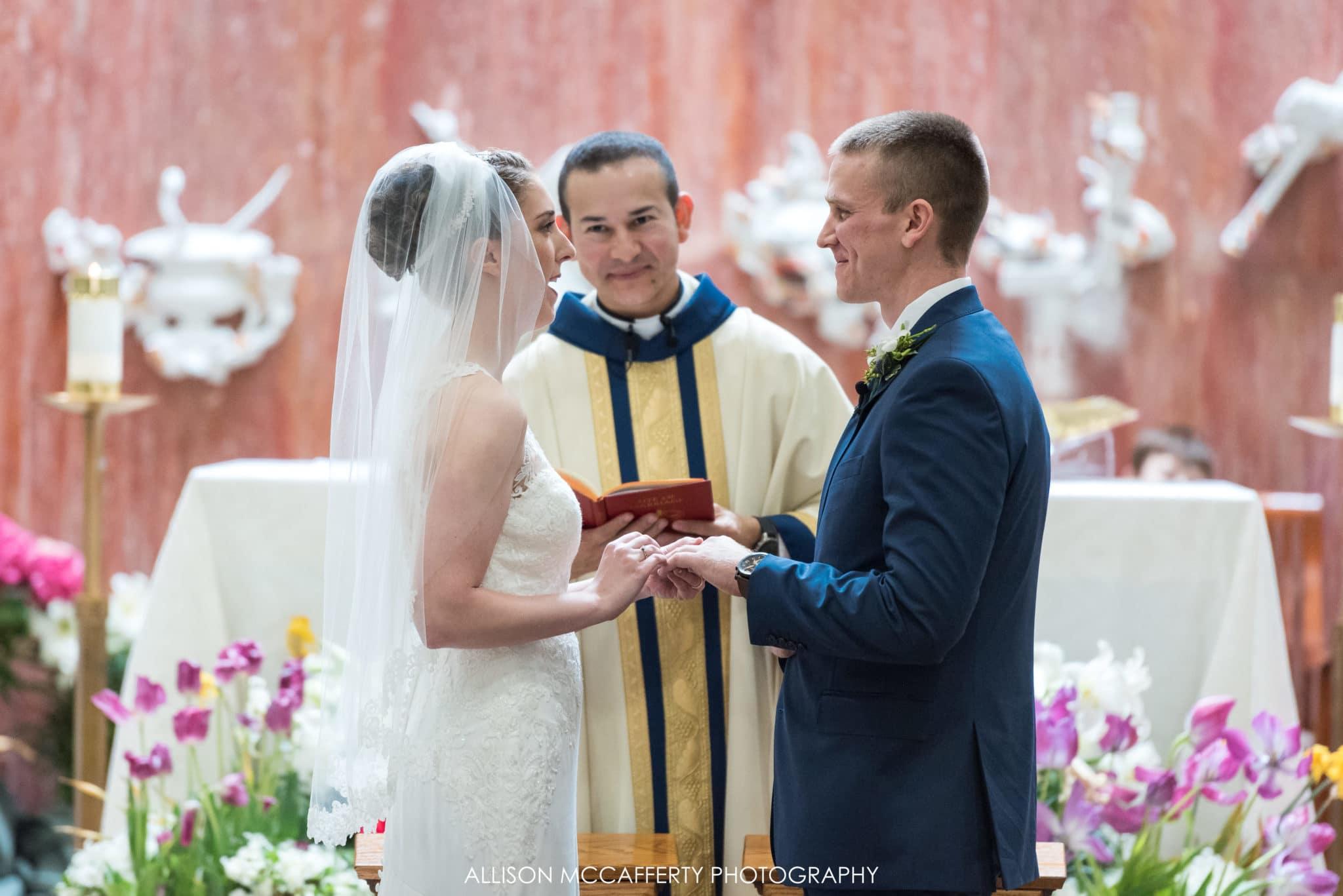 Bride and groom exchanging wedding vows in Berlin NJ