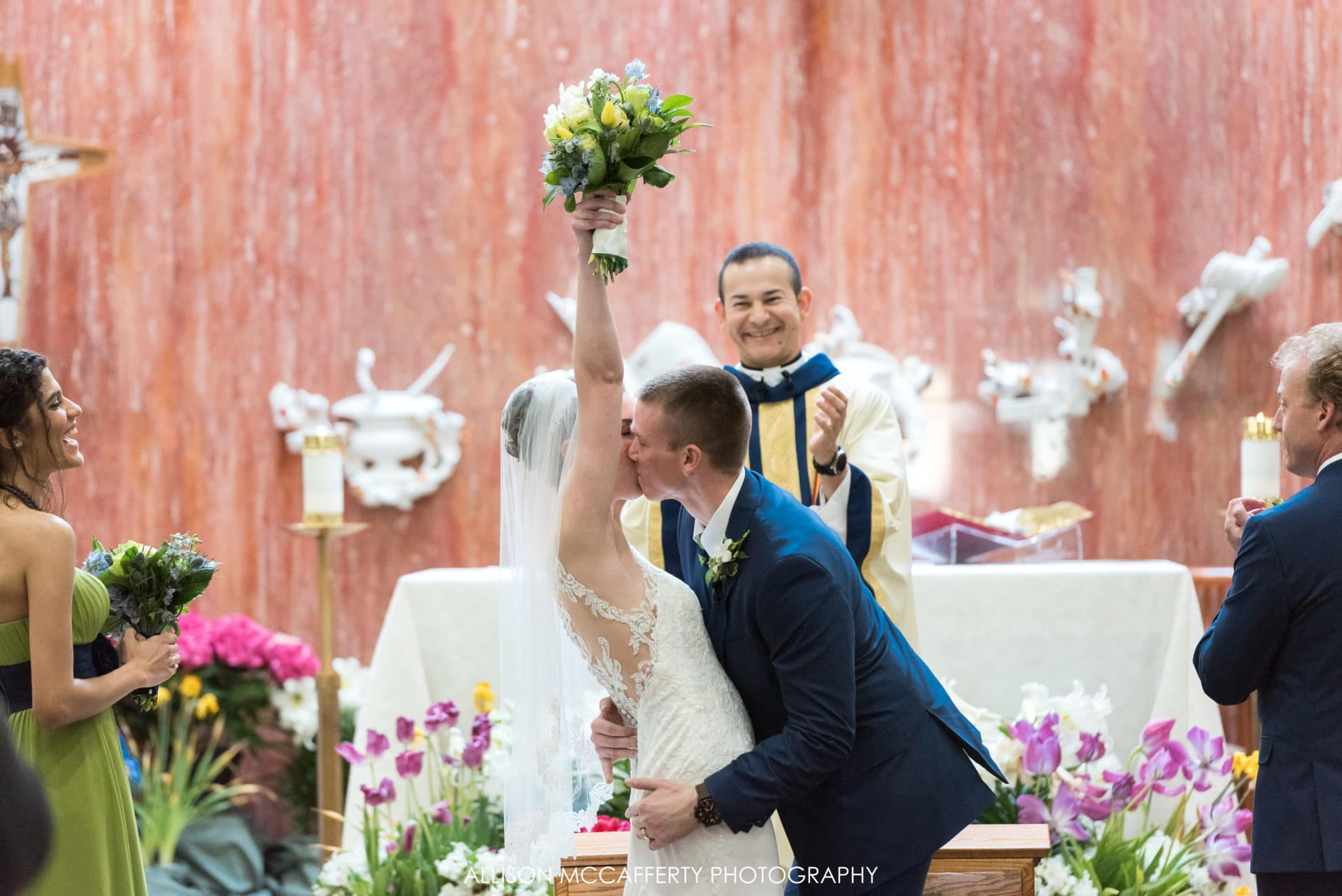 First kiss in church after wedding