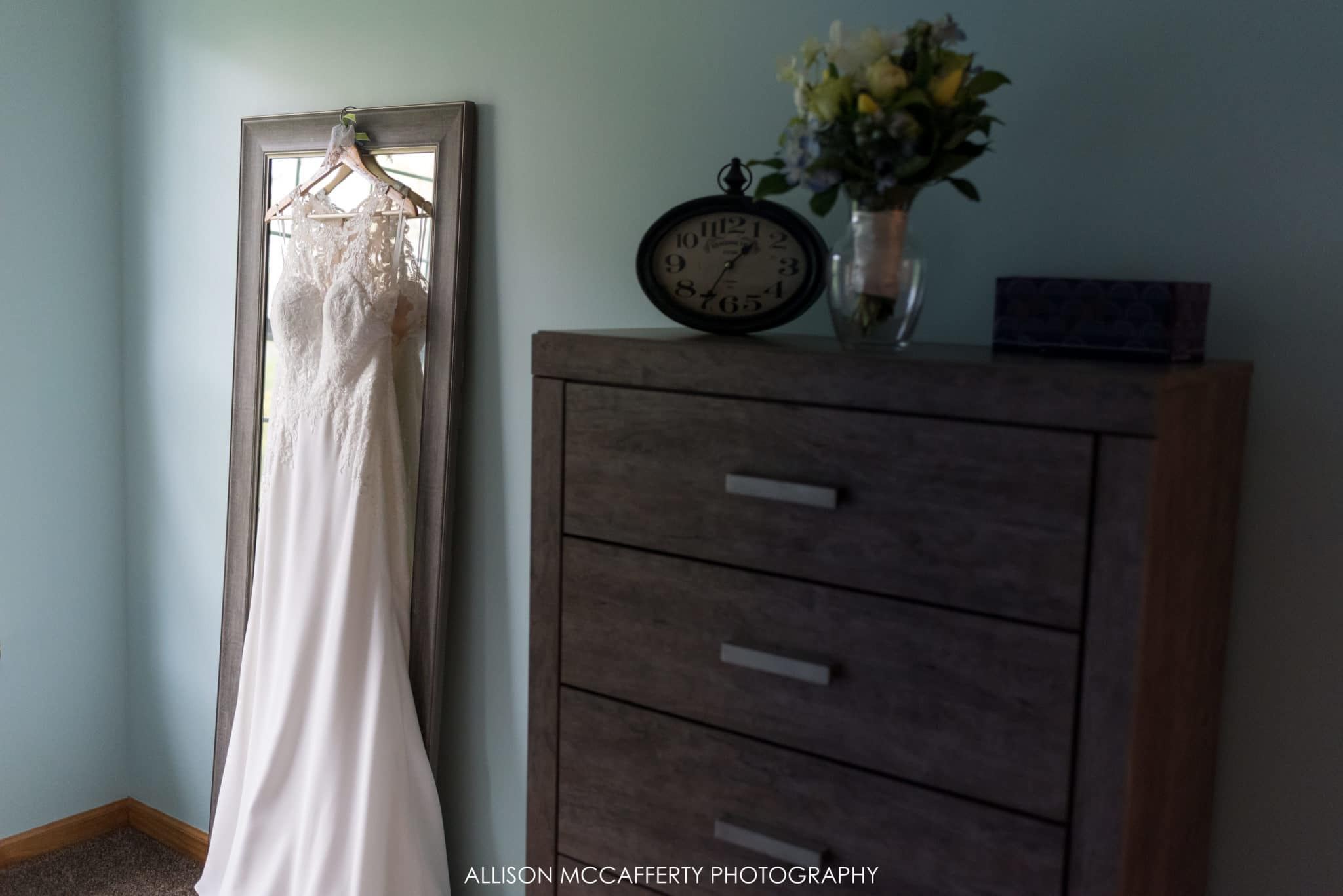 Wedding dress hanging in Shamong NJ home