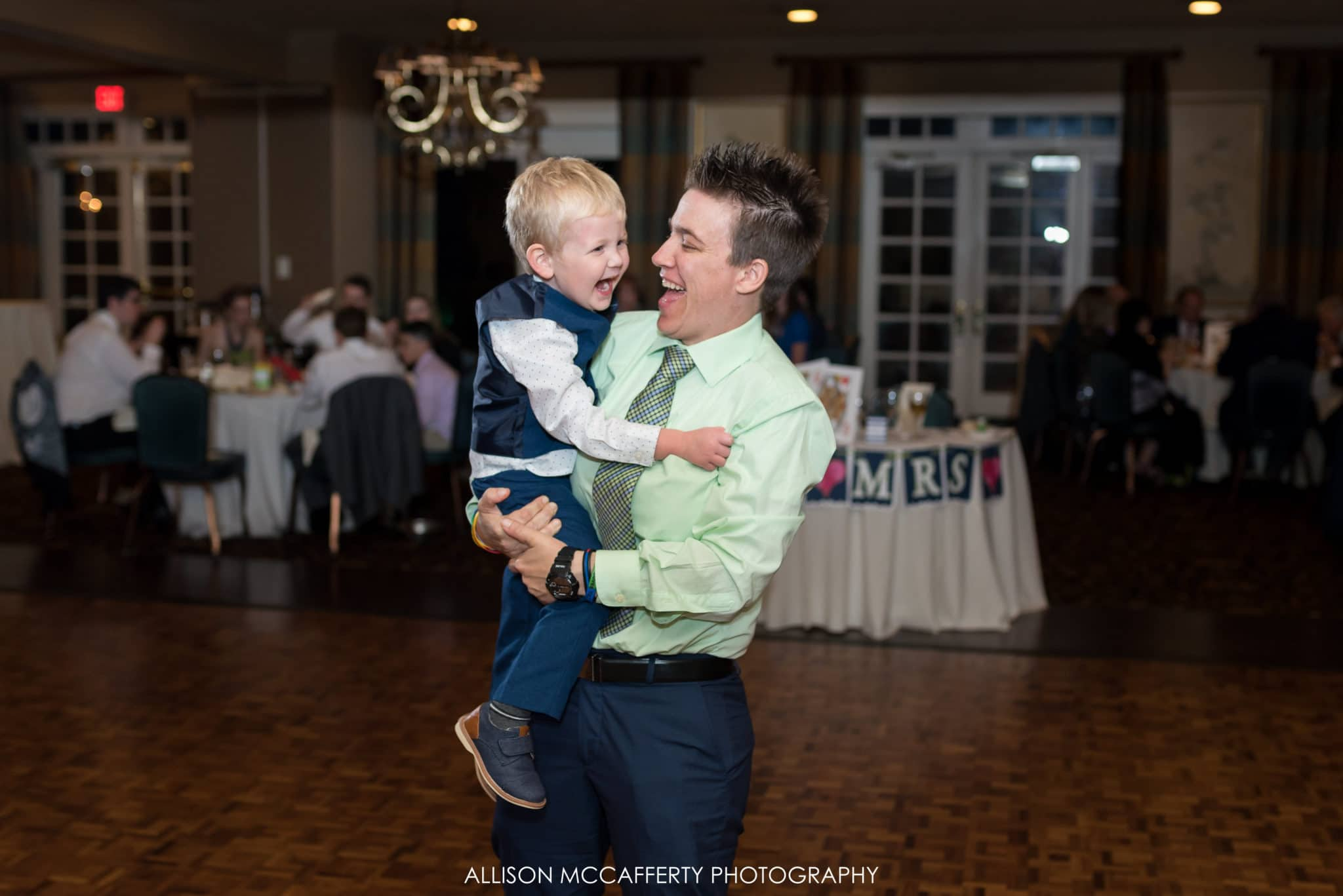 Ring bearer dancing at wedding in South Jersey