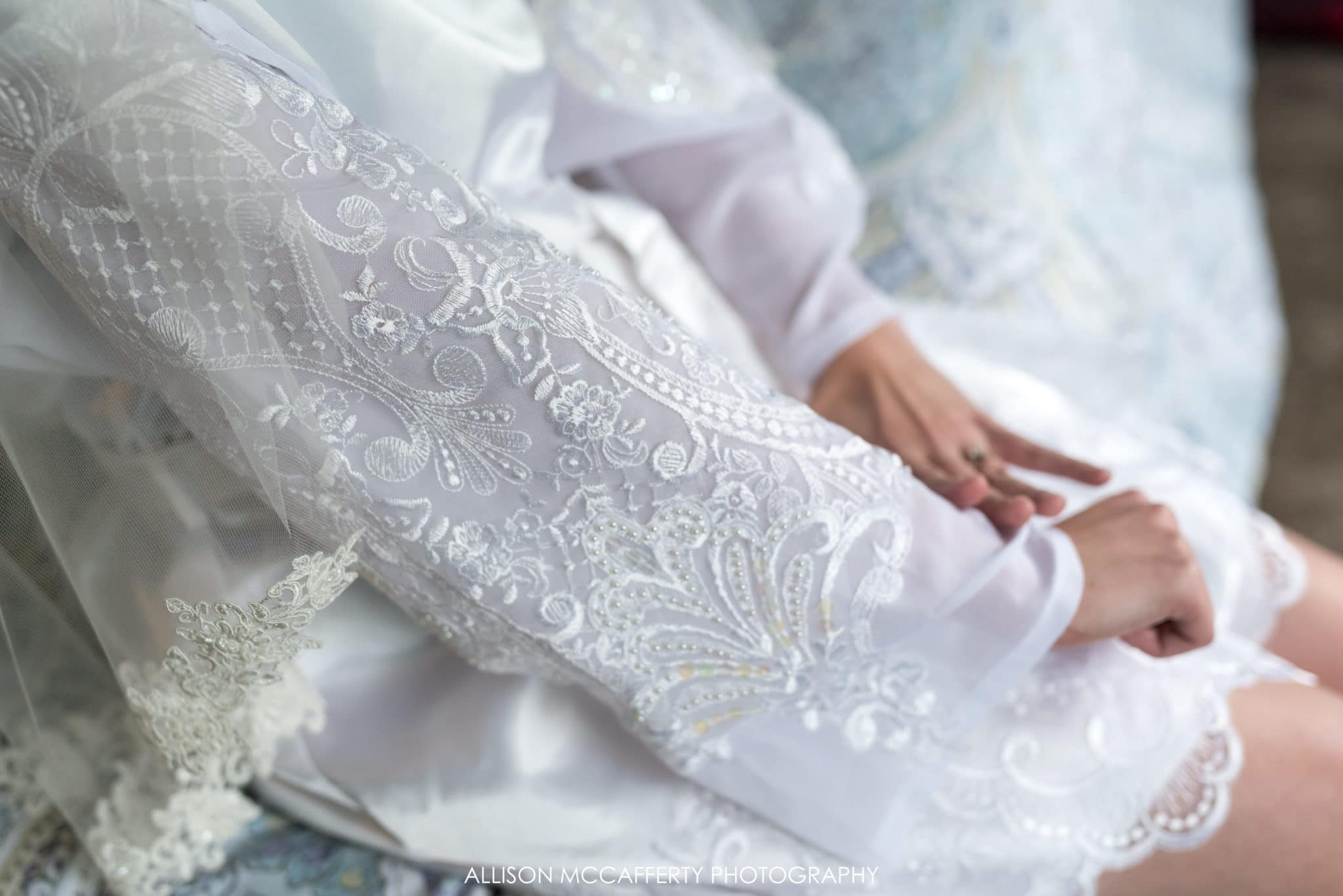Bridal robe made from mother's wedding dress