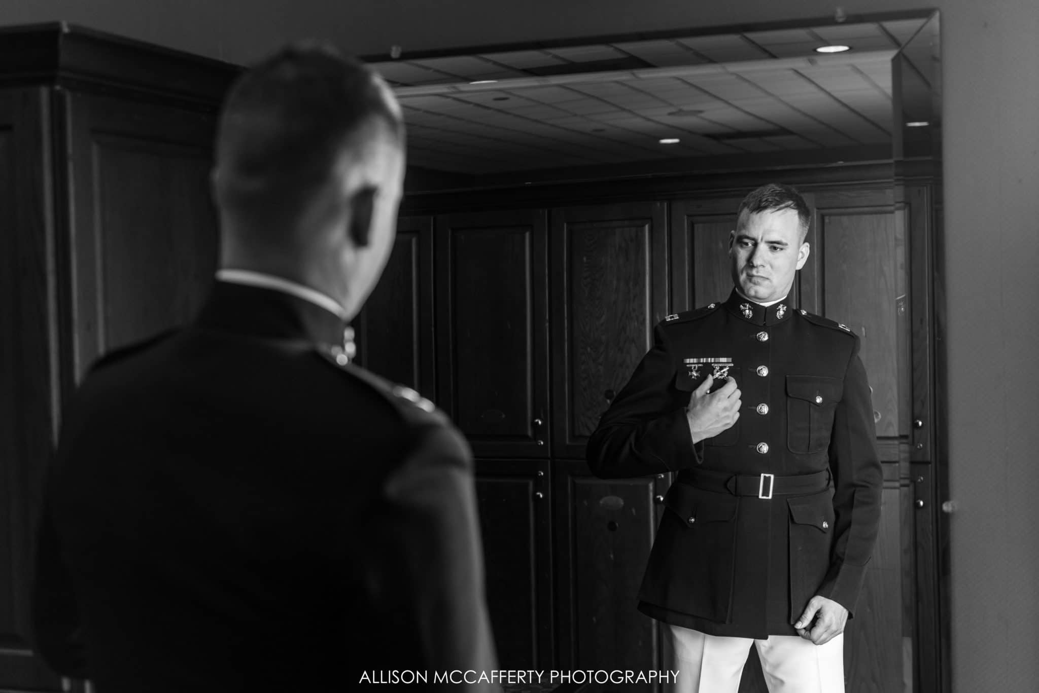 marine dressed in his uniform for wedding