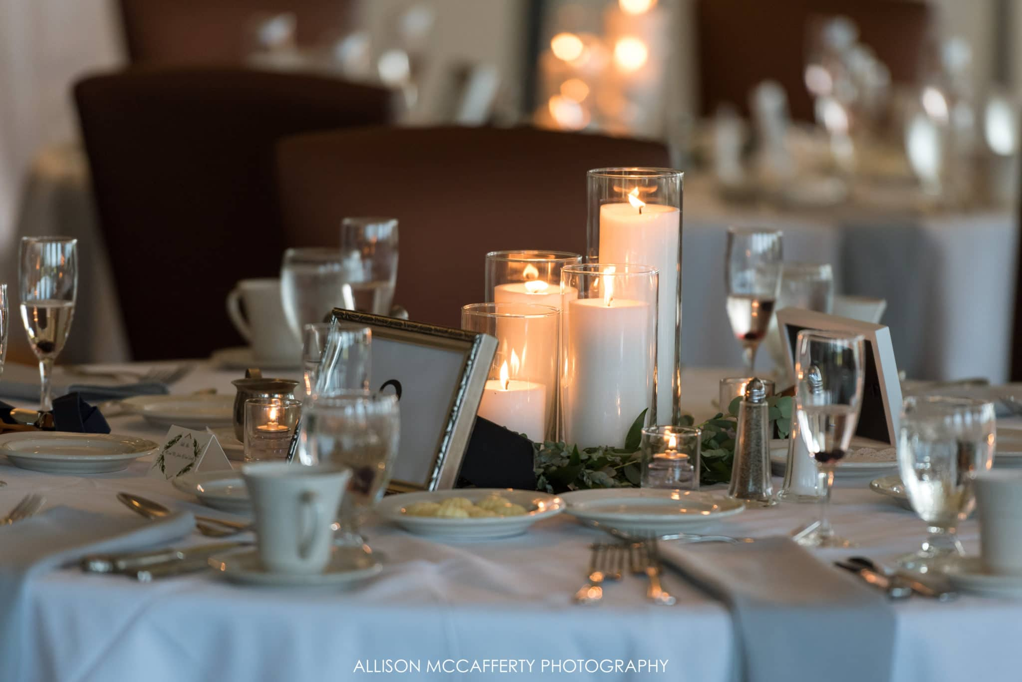 wedding table decor candles