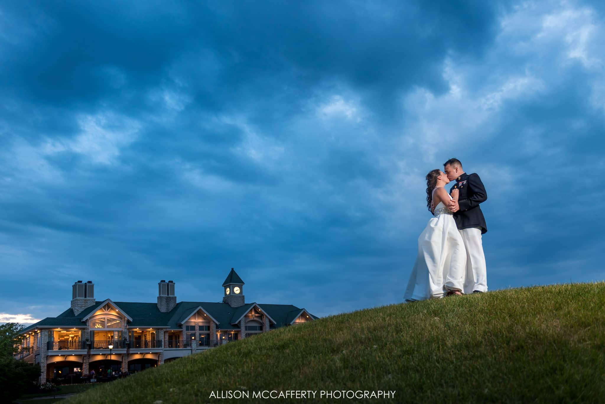 night photo behind scotland run golf course wedding