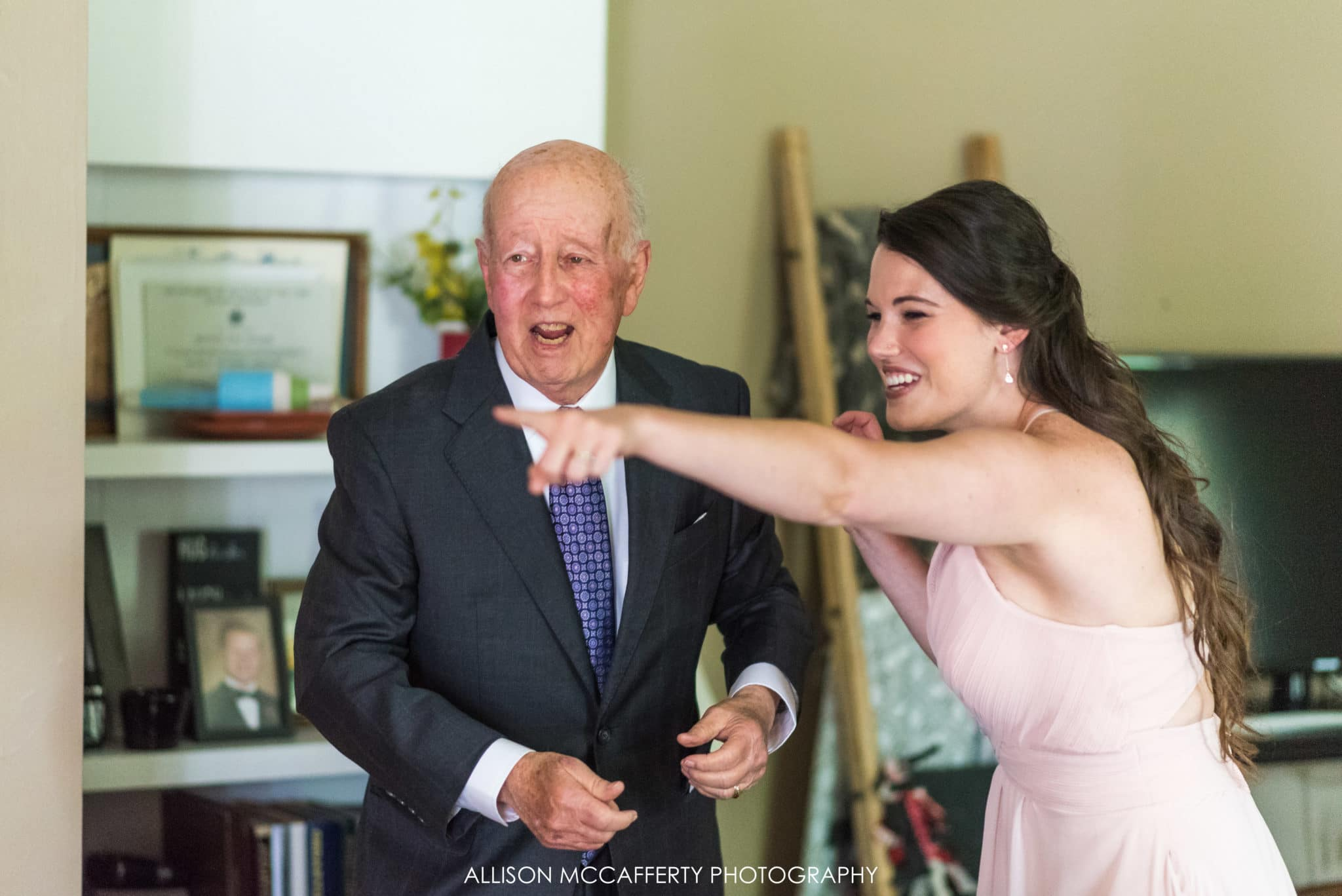 Grandfather seeing grand daughter on her wedding day