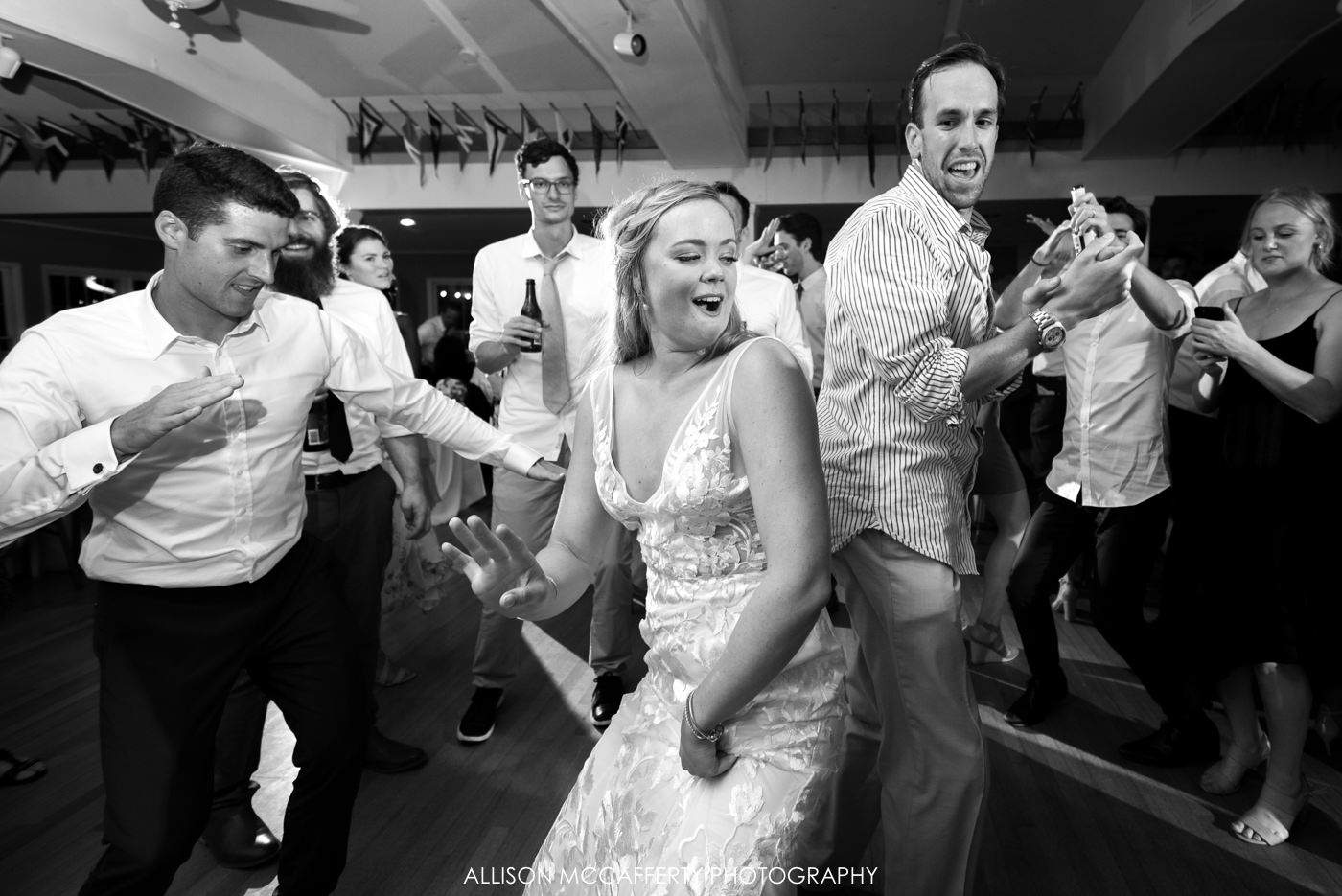Black and white reception photos at Brant Beach Yacht Club