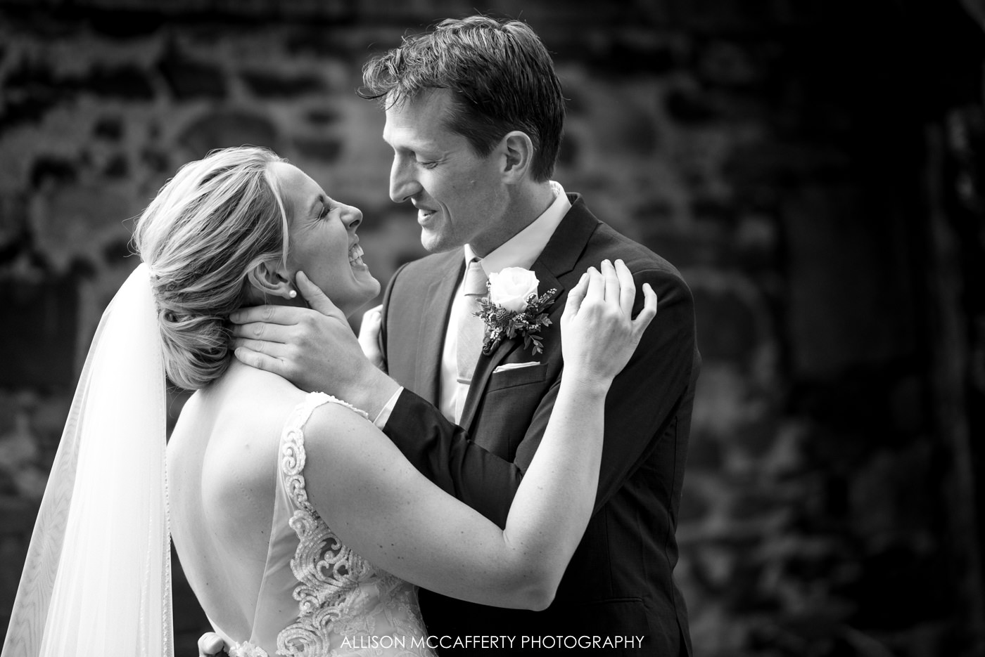 Black and white wedding photo at Rose Bank Winery