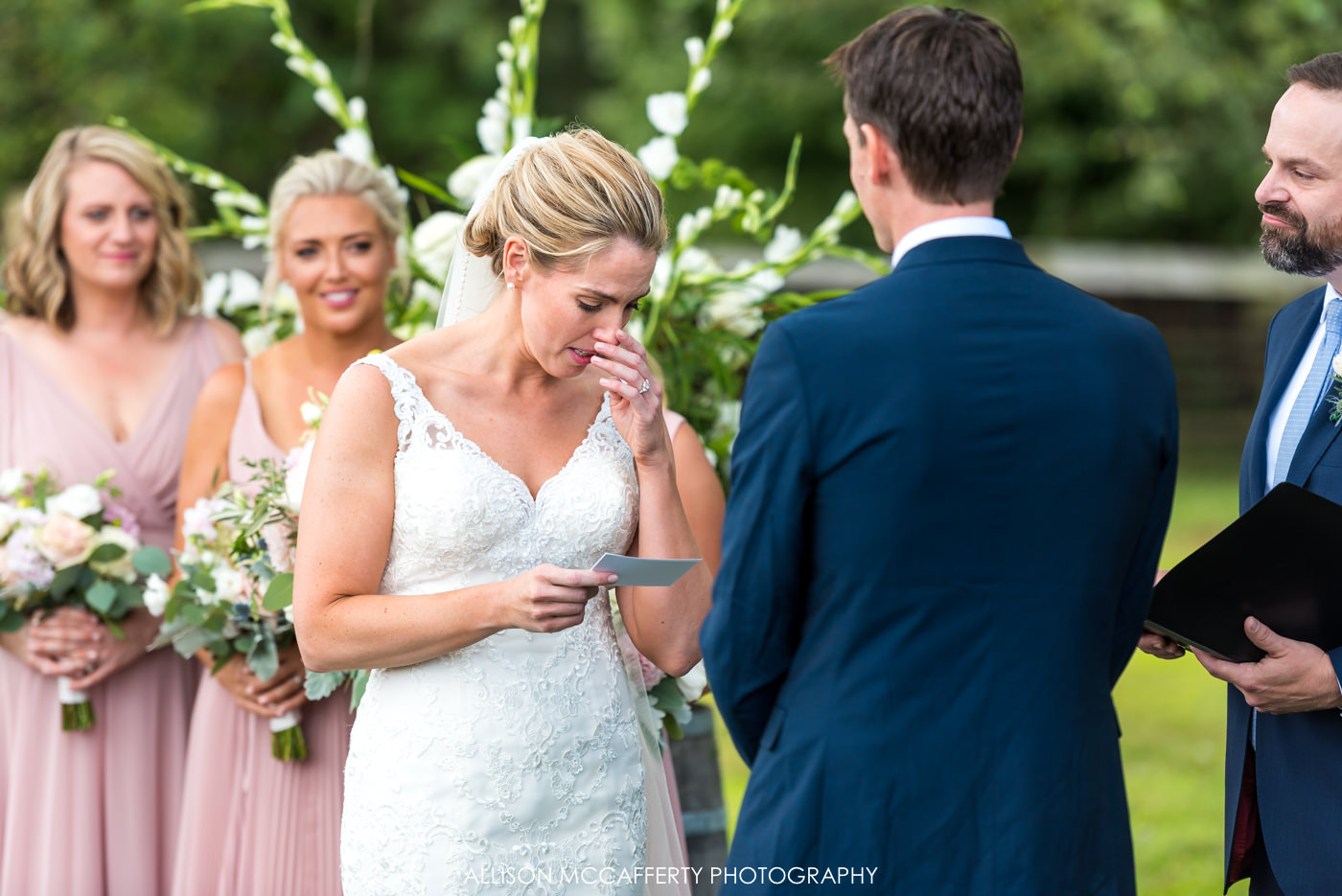 Outdoor wedding ceremony at Rose Bank Winery