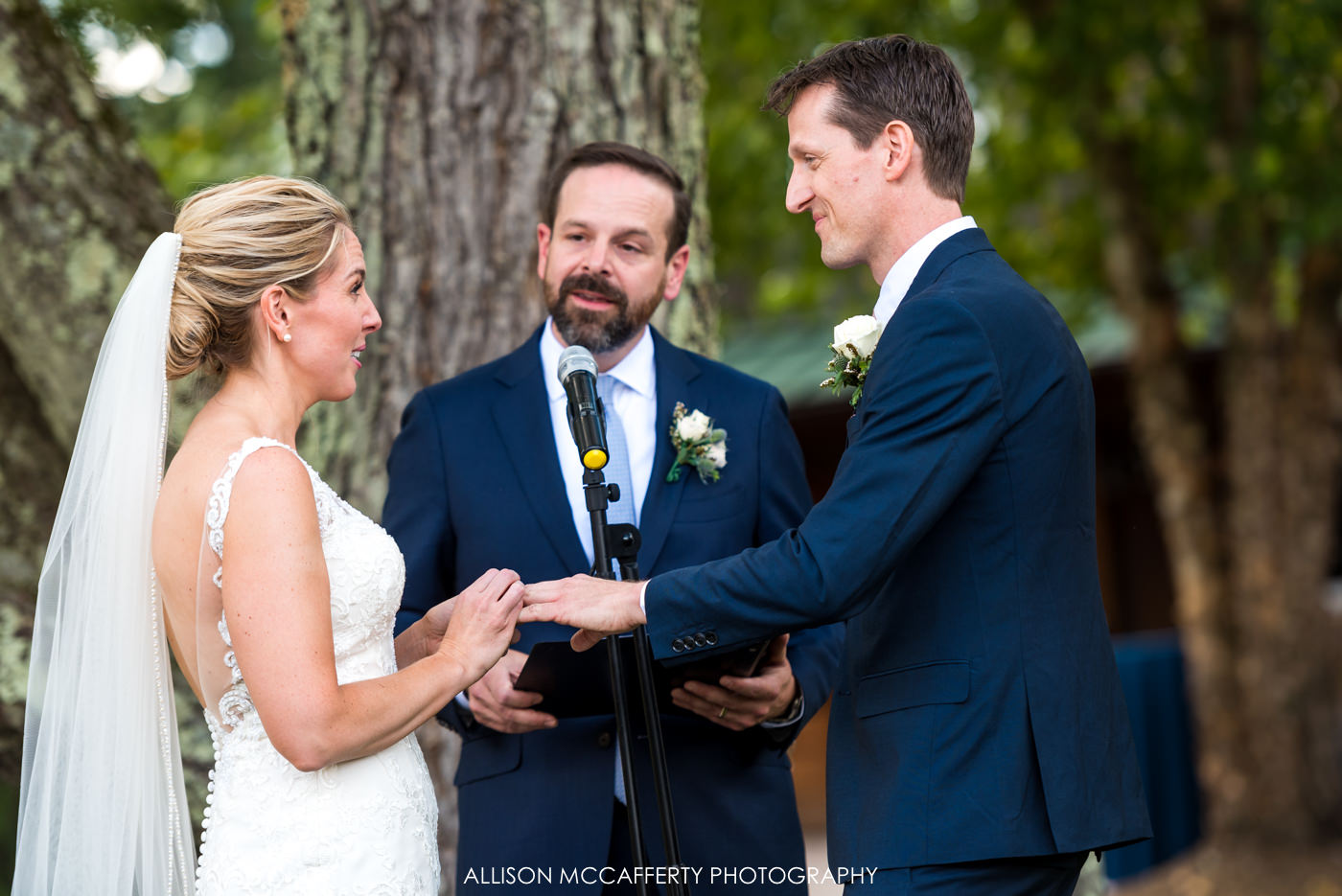 Exchanging rings photo at Rose Bank Winery