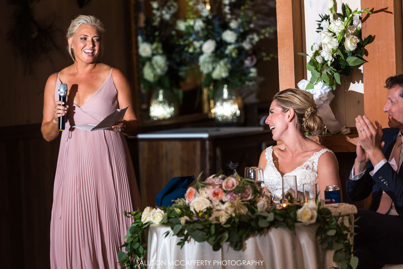Bridal party speeches at Rose Bank Winery wedding